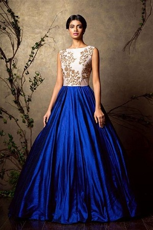 Blue Indo Western Gown