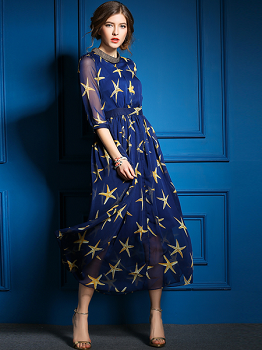 Blue Printed Polyester Long Dress