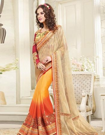 Cream And Orange Net Half Saree