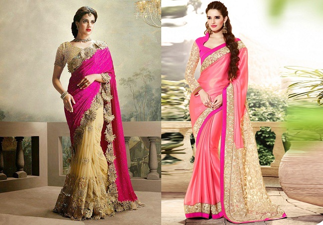 Cream And Pink In Half Net Saree