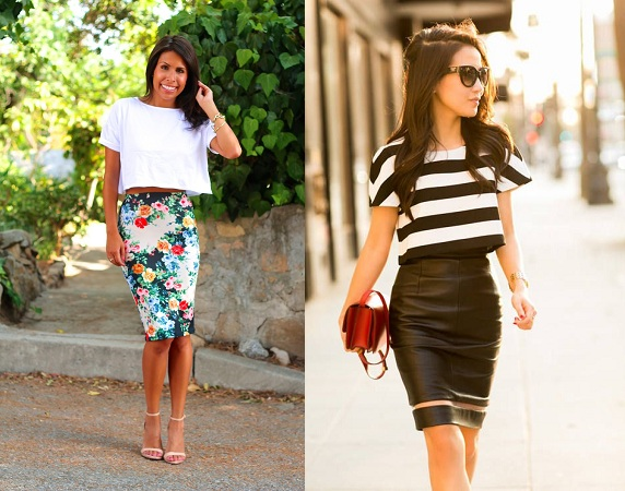 Crop Top Blouse With Pencil Skirt