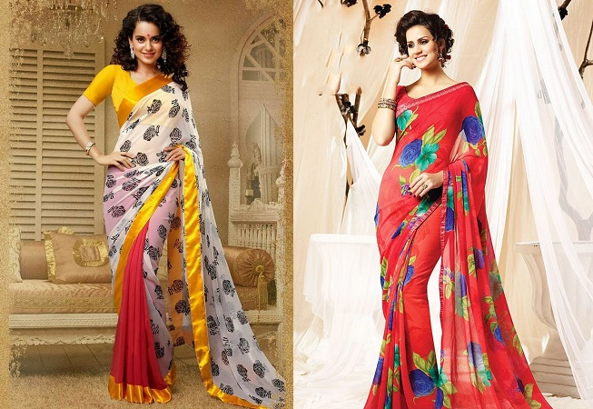 Get Slimmer Look In Printed Sarees