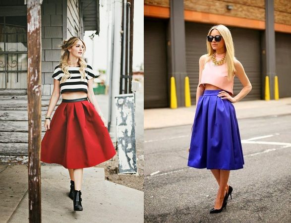 Midi Skirt Combo With Crop Top