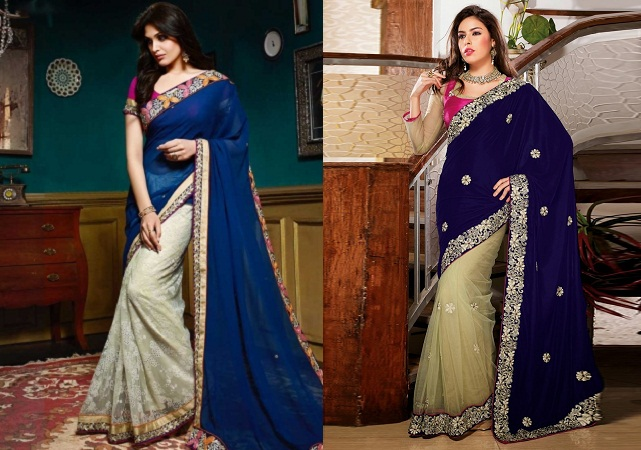 Navy Blue And Off White Half Net Saree