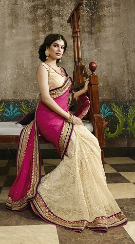 adorable-off-white-net-saree-with-magenta-georgette-palla