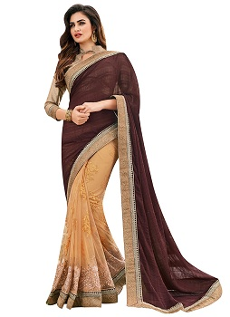 brown-net-n-georgette-half-n-half-saree