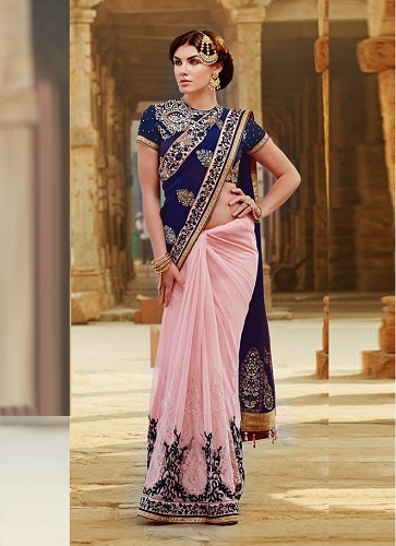 navy-blue-and-pink-designer-half-and-half-saree