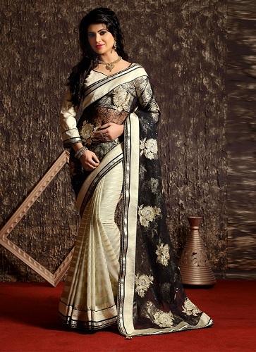 net-black-cream-half-n-half-saree