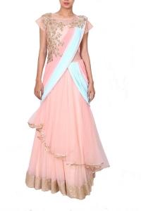 pink-peach-saree-style-drape-gown
