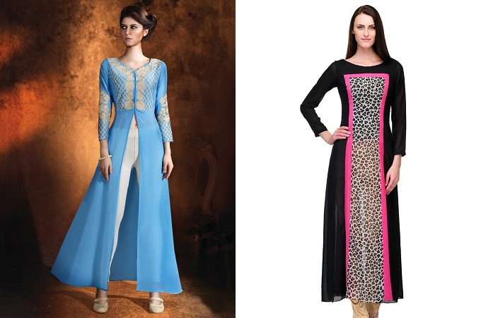 Long Straight Georgette Kurtis