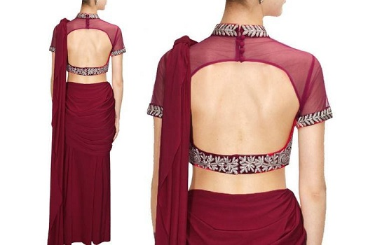 High Neck Backless Blouse