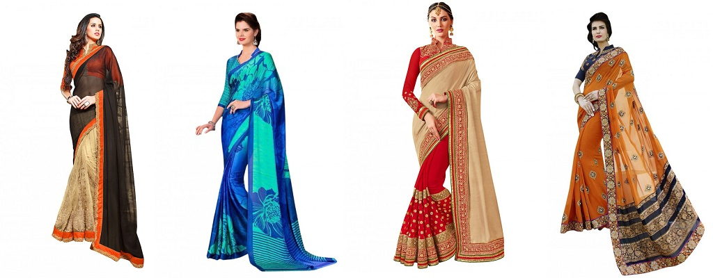 different collar-designs blouses for sarees