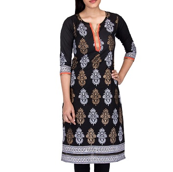 Black Floral Cotton Long Kurti for Office