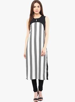 Ives White Striped Sleeveless Straight Kurti