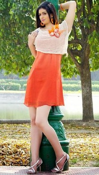 Orange and Off White Designer Kurti