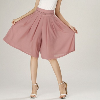 Pink based-skirt type palazzo pants