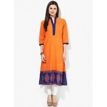 Riya Orange Three Fourth Sleeve Solid Kurti