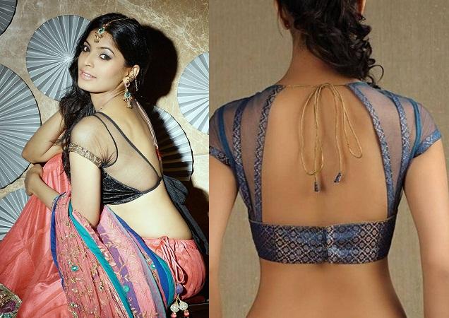 Transparent Backless Blouse Design