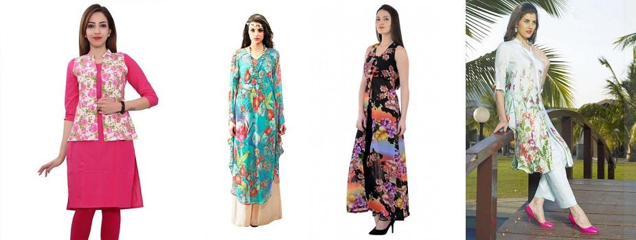 different floral kurti patterns