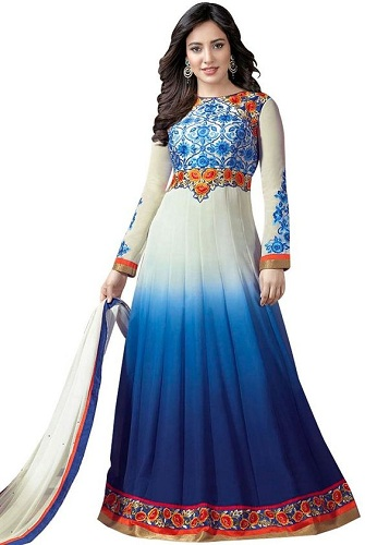 Blue and white festive Anarkali