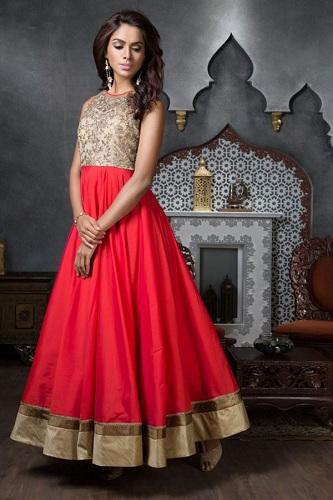 Bright red Anarkali