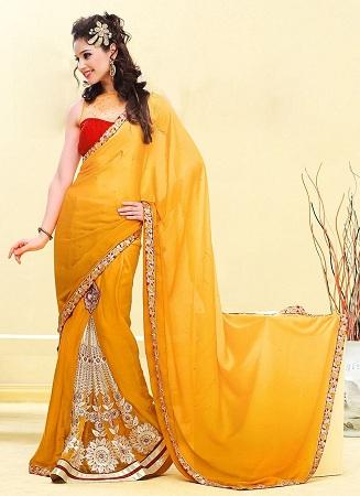 Color Pleated Sari