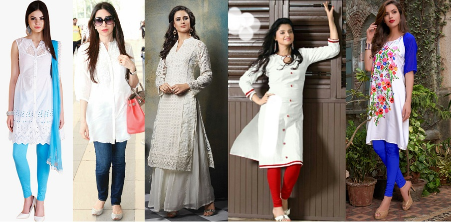 Different ways to wear white kurtis