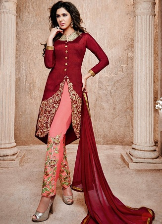 Embroidered pant style salwar kameez