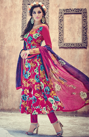 Floral frock paired with salwar