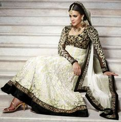Fully embroidered Anarkali salwar suits