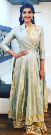 Sonam Kaporor in Long Angrakha jacket with saree