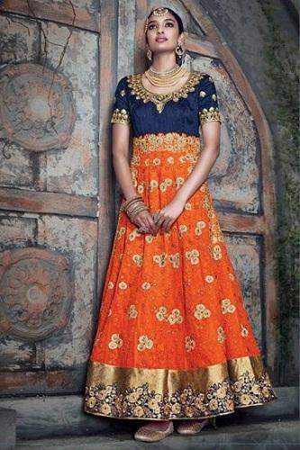 Orange full length flowy Anarkali