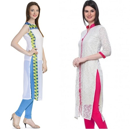 White Kurti With Solid Colours
