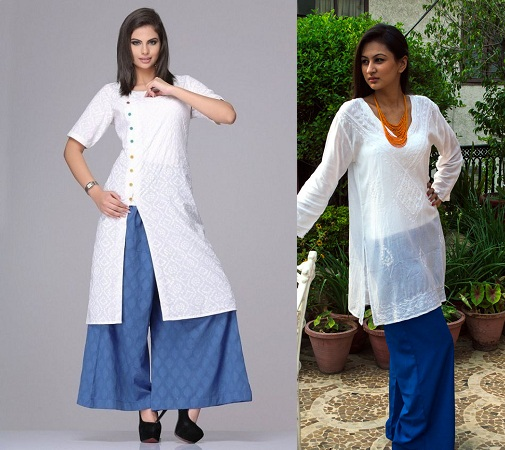White Kurtis with Flare Pants