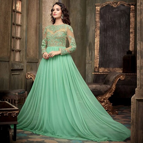 Mint green anarkali