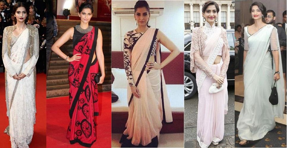 sonam kapoor in different saree style
