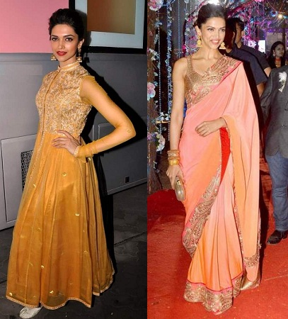 Deepika Padukone in saree or Anarkali
