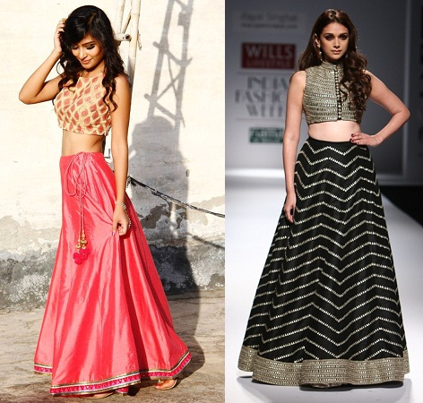 crop tops with long skirt