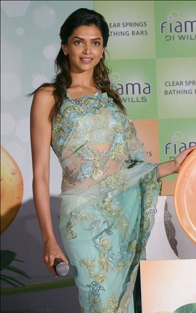Deepika Padukone in Saree Fiama Di Wills Promotion