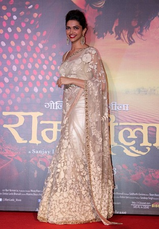 Deepika Padukone in Ramleela Promotion Saree