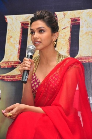 Deepika Padukone in Rana Press Meet Saree