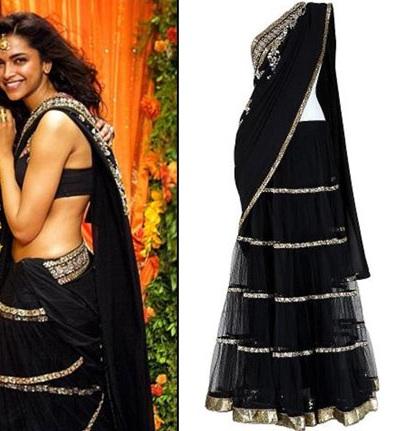 Deepika Padukone in black lehenga sari designed by Sabyasachi
