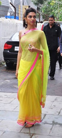 Deepika Padukone in bright neon green sari