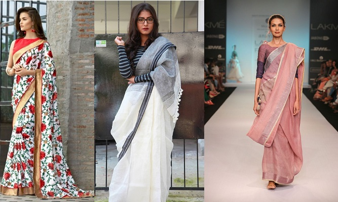 Different Blouse Style With Linen Saree