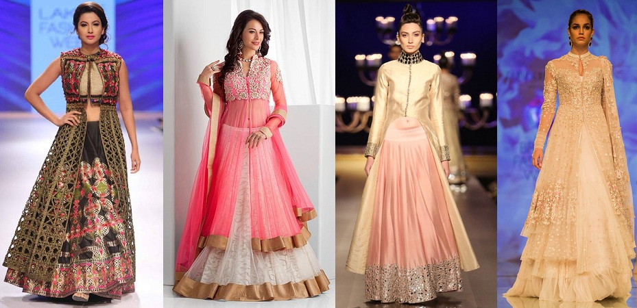 Different Neck Designs For Jacket Lehenga