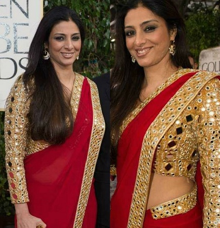 Full sleeve golden saree blouse design