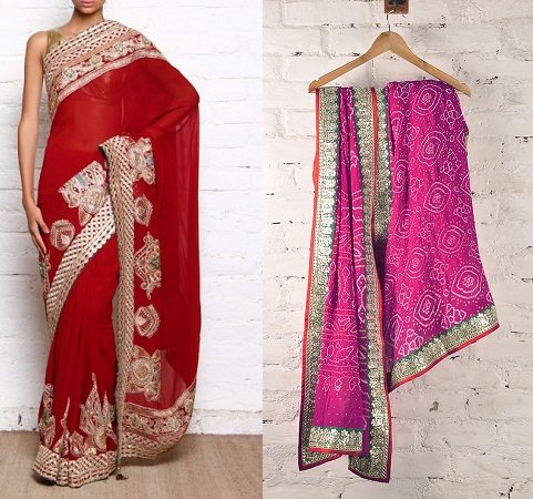 Georgette sarees with gotta work