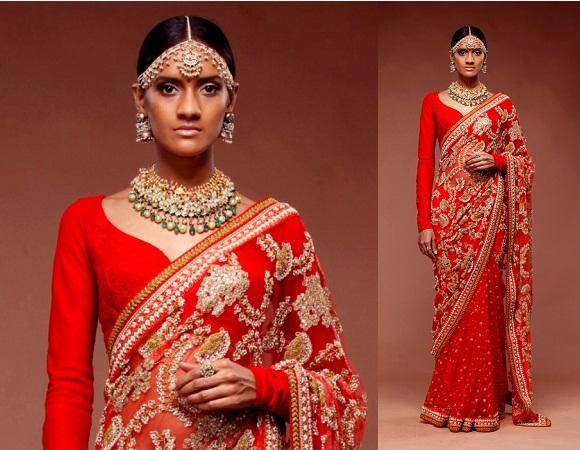 Jewellery with gota saree
