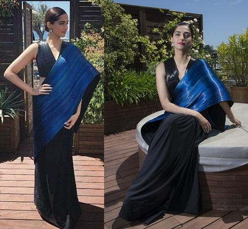 Sonam Kapoor in black and blue saree designed by Rimzim Dadu