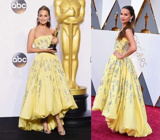 HOLLYWOOD, CA - FEBRUARY 28: Actress Alicia Vikander, winner of the Best Actress in a Supporting Role award for 'The Danish Girl,' poses in the press room during the 88th Annual Academy Awards at Loews Hollywood Hotel on February 28, 2016 in Hollywood, California. (Photo by Jason Merritt/Getty Images)
